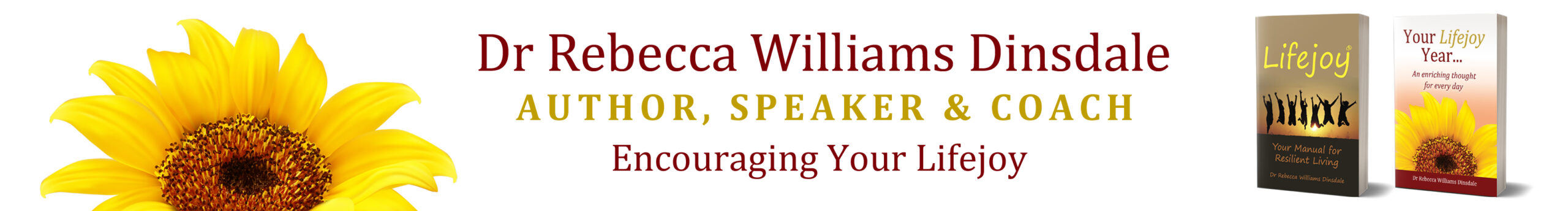 Top Banner Logo Image with Dr Rebecas name, Author, Speaker & Coach